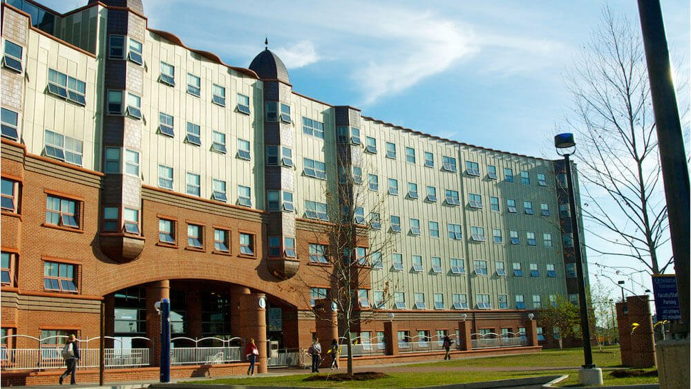 Quinnipiac University's Crescent residence hall on the York Hill Campus.