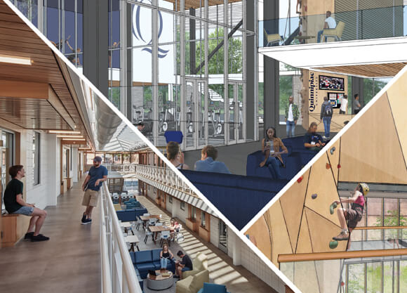 Renderings of the newly designed student center and other campus areas