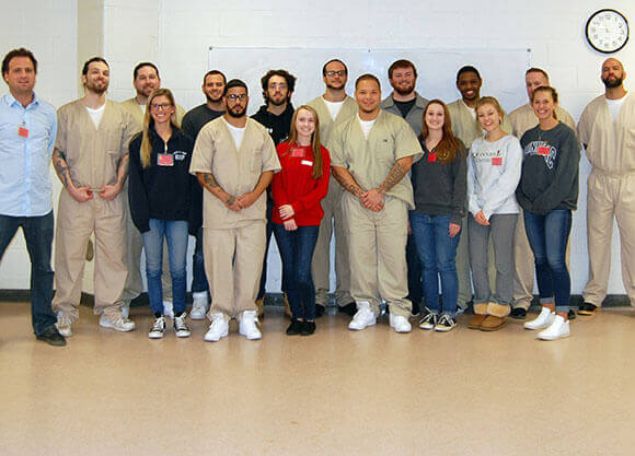Shot of students participating in the prison project