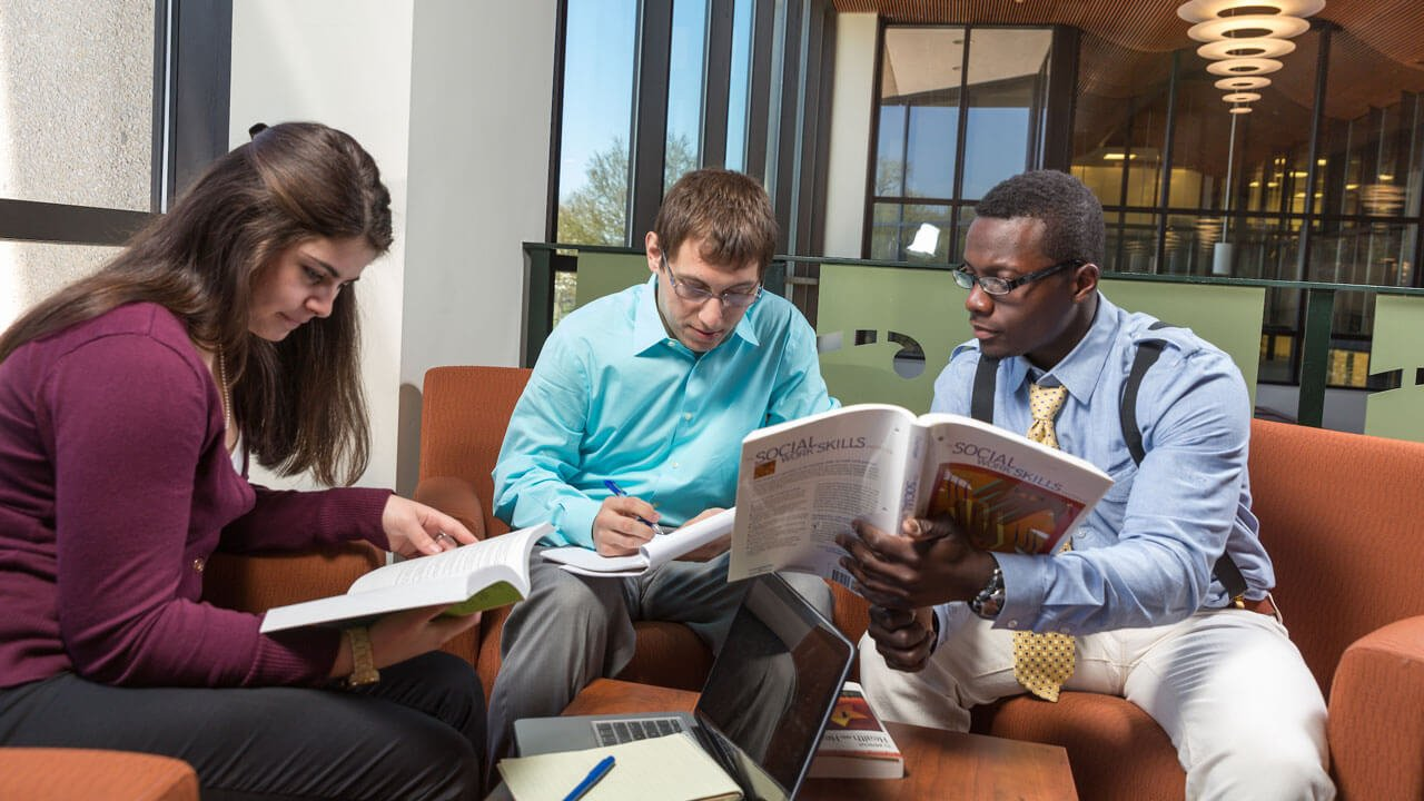 Social work students study together