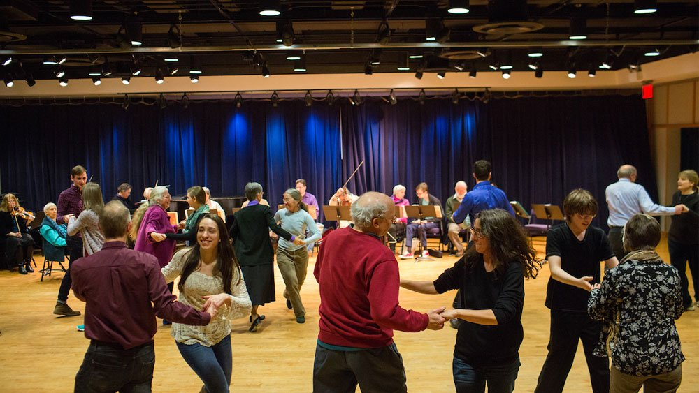 Ten students from the Quinnipiac University Honors Program took part in English Country Dance on Friday evening, February 6, 2015 at the Neighborhood Music School in New Haven, Connecticut.