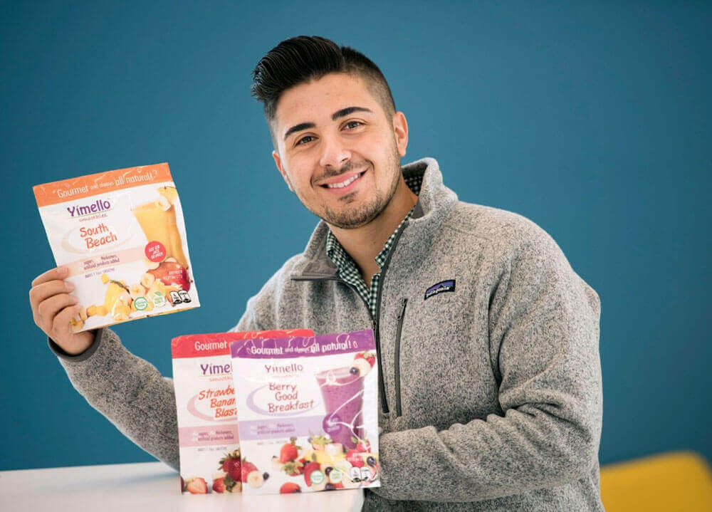 Kostas Sousoulas holds his smoothie product