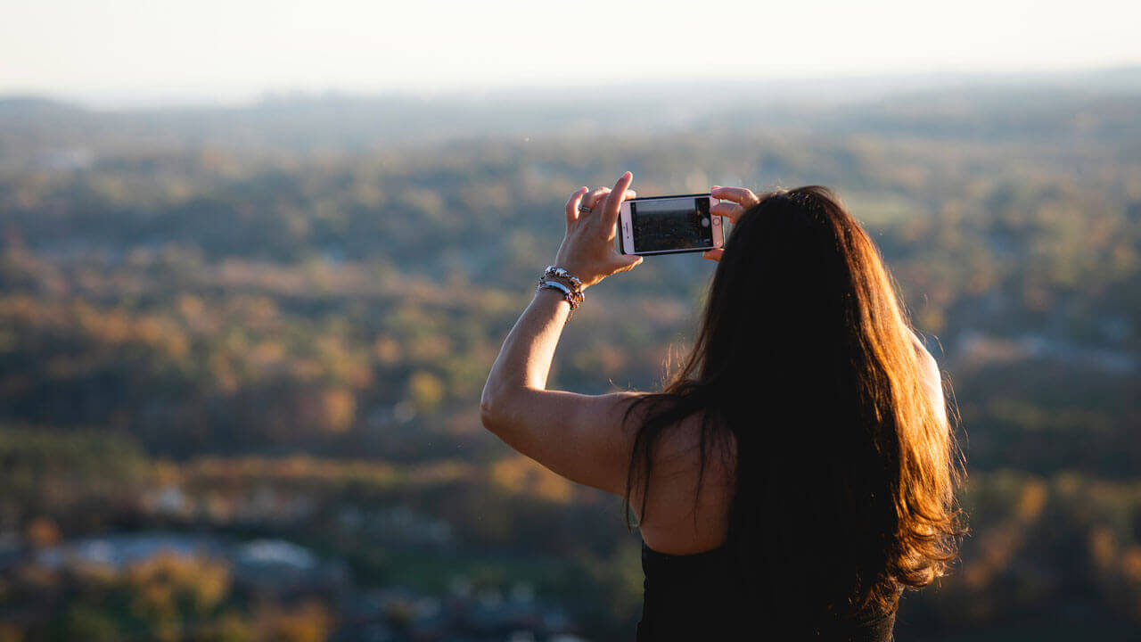Taking picture of mountains