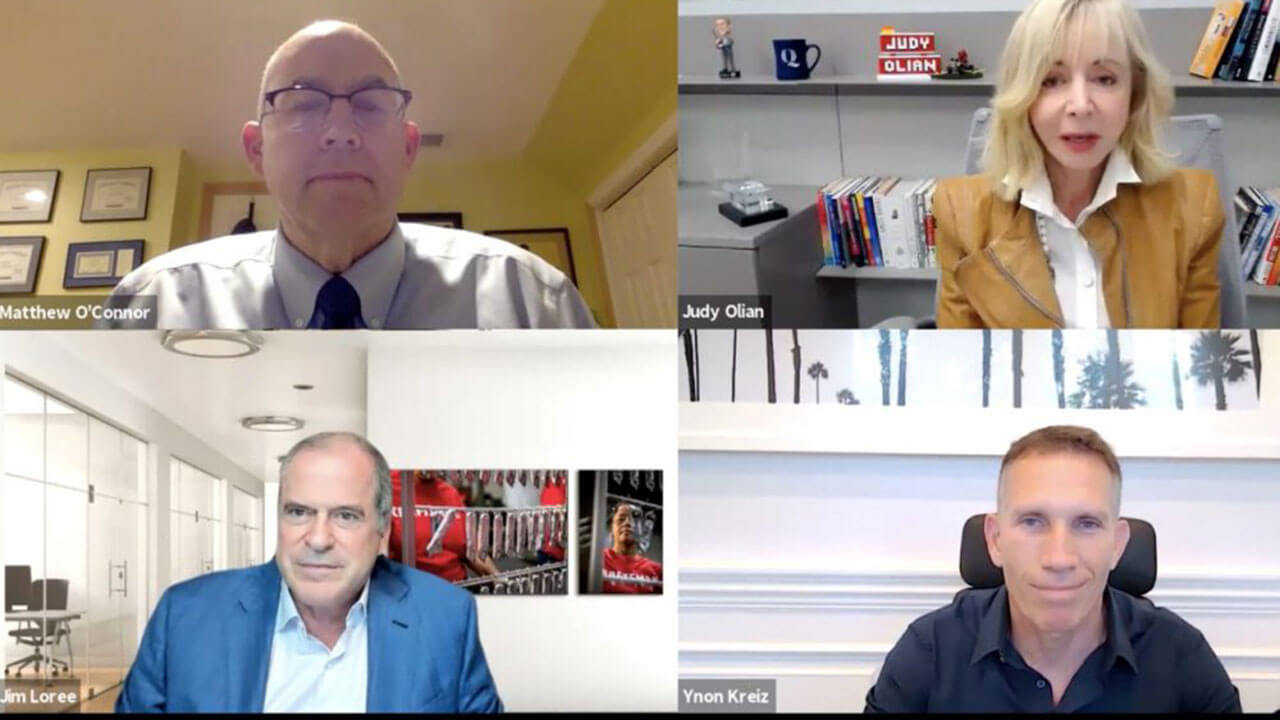 Screen capture of the four panelists during the webinar