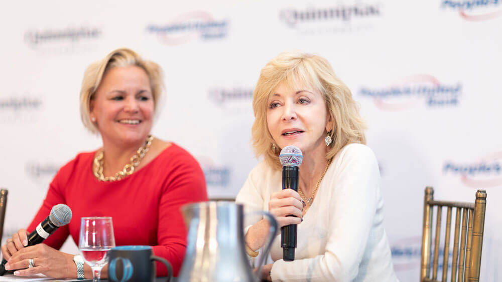 Judy Olian, president of Quinnipiac University, and Sara Longobardi, senior executive vice president, retail banking at People's United Bank, share their experiences and take questions.