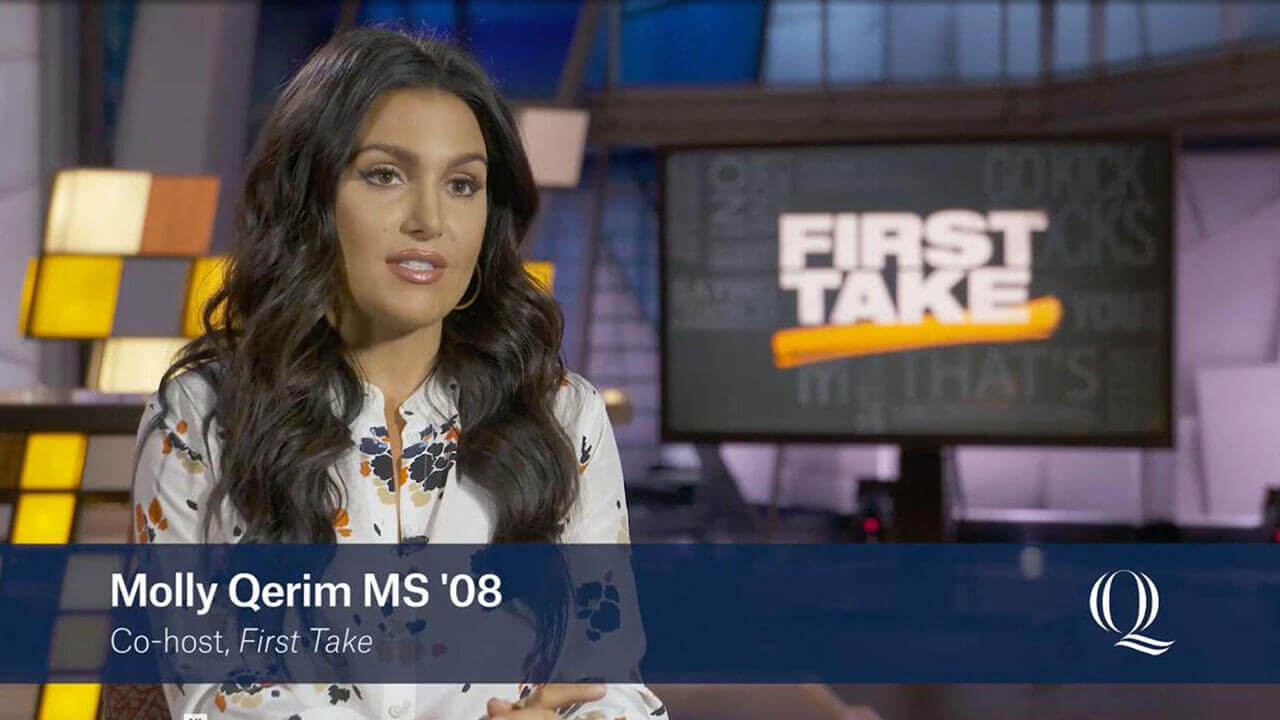 Journalism alumni Molly Qerim on set of ESPN First Take, starts video profile
