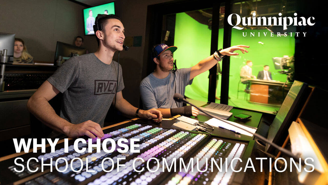 Two communications students manage the large control board in our communications studio during a news broadcast, starts video