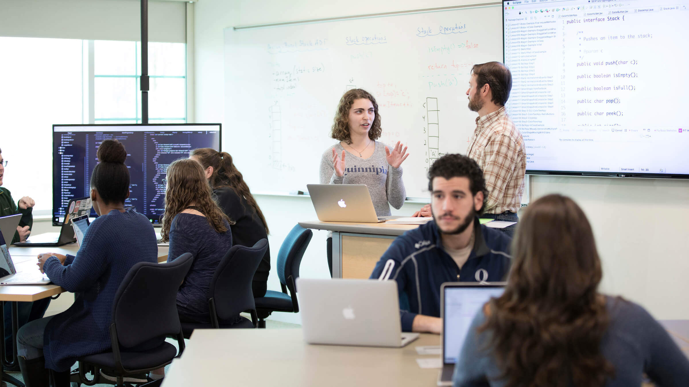 Students and professor in a classroom