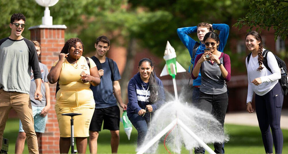 Engineering students launch water bottle rockets on the Mount Carmel Campus