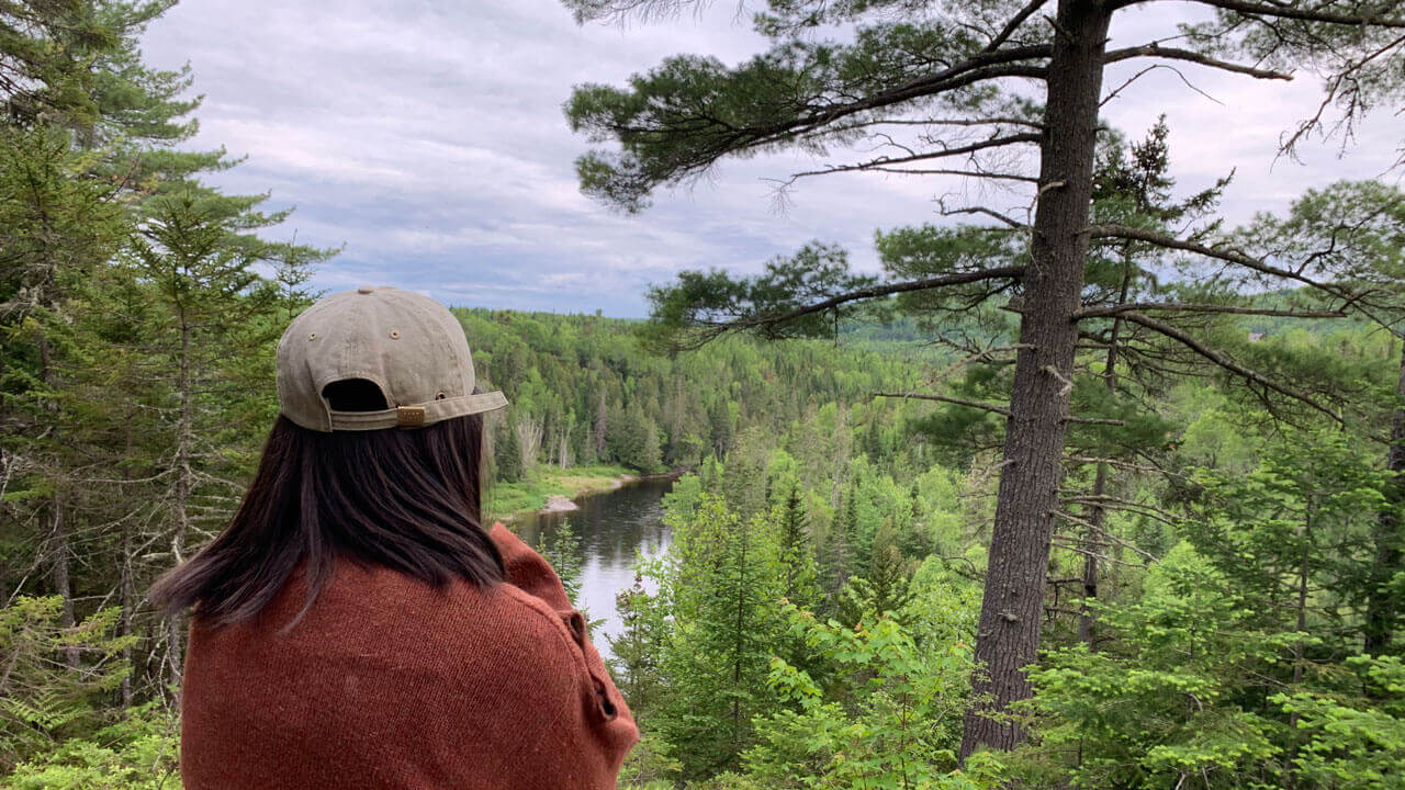 A woman looks out over a view of a river and acres of pine trees.