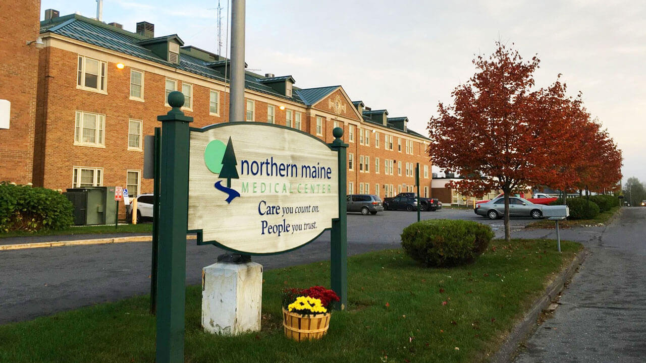 Outdoor view of the entrance to the Northern Maine Medical Center
