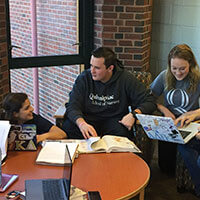 Nursing student Charles Sharkey participates in a study group