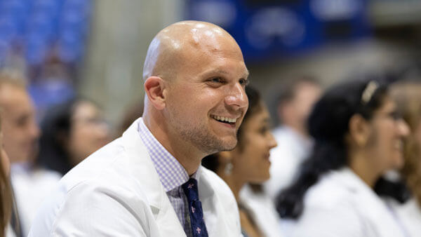 A medical student during the White Coat Ceremony