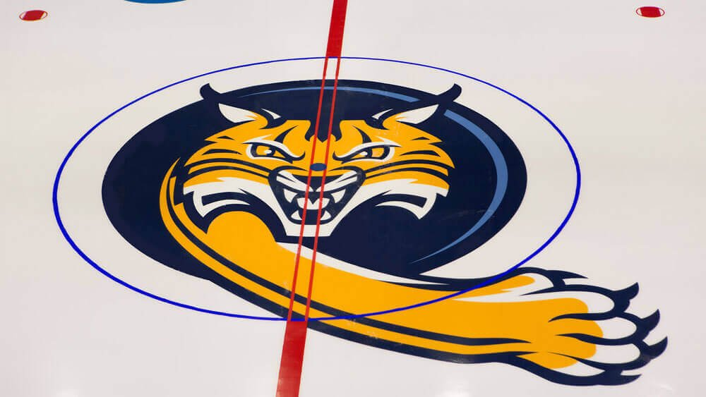 A fresh Quinnipiac Bobcat logo swipes the ice at High Point Solutions Arena in the TD Bank Sports Center on the York Hill Campus.