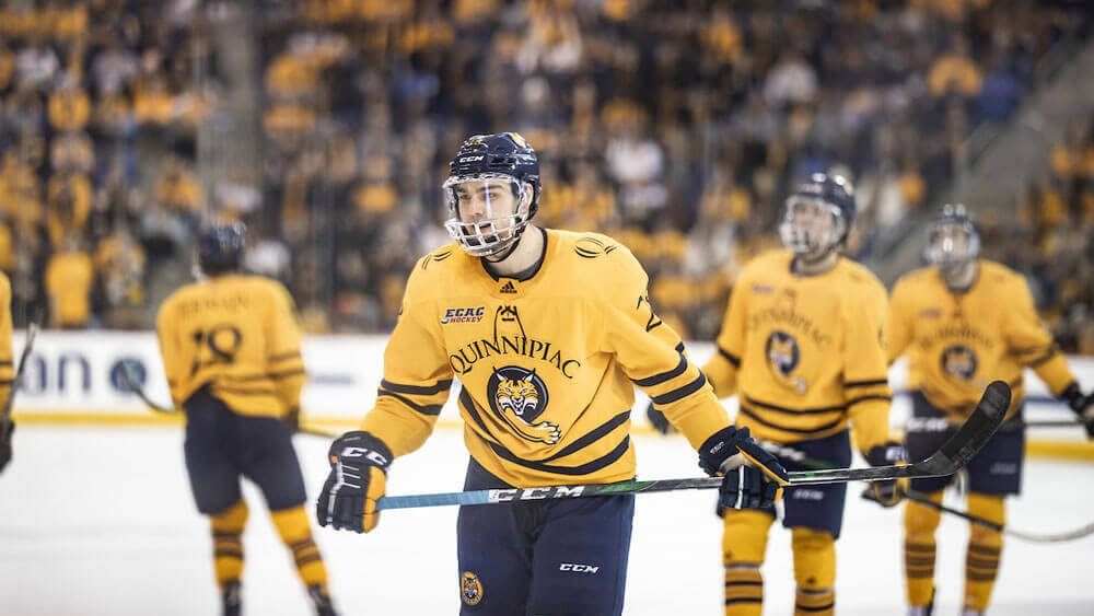 Quinnipiac University Men's Ice Hockey hosts Yale in the Heroes Hat Game Saturday, Feb. 29, 2020 in the People's United Center on the York Hill Campus.