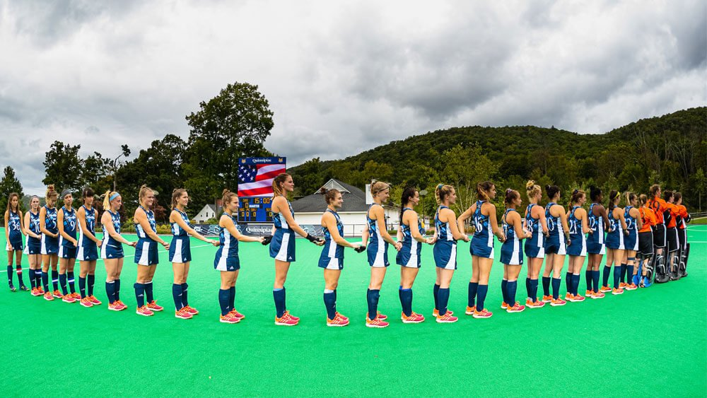 The Quinnipiac Women's Field Hockey team competes against Sacred Heart University
