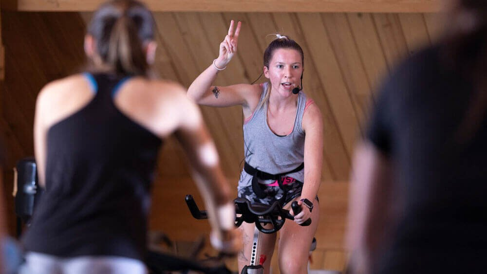 Group fitness instruction in the Spinning Studio in the Rocky Top Student Center on Quinnipiac's York Hill Campus.