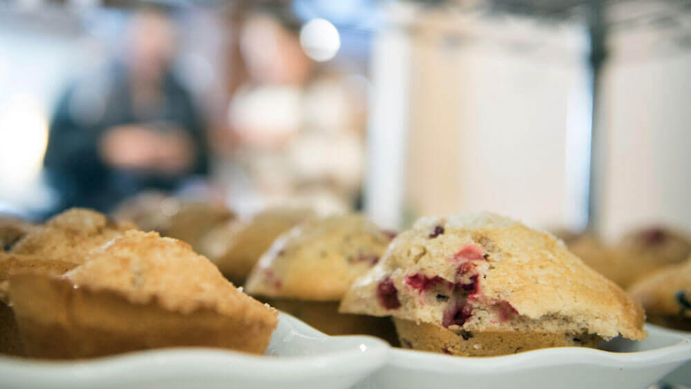 Photo of muffins at the Au Bob Pain on Quinnipiac University's Mount Carmel Campus.