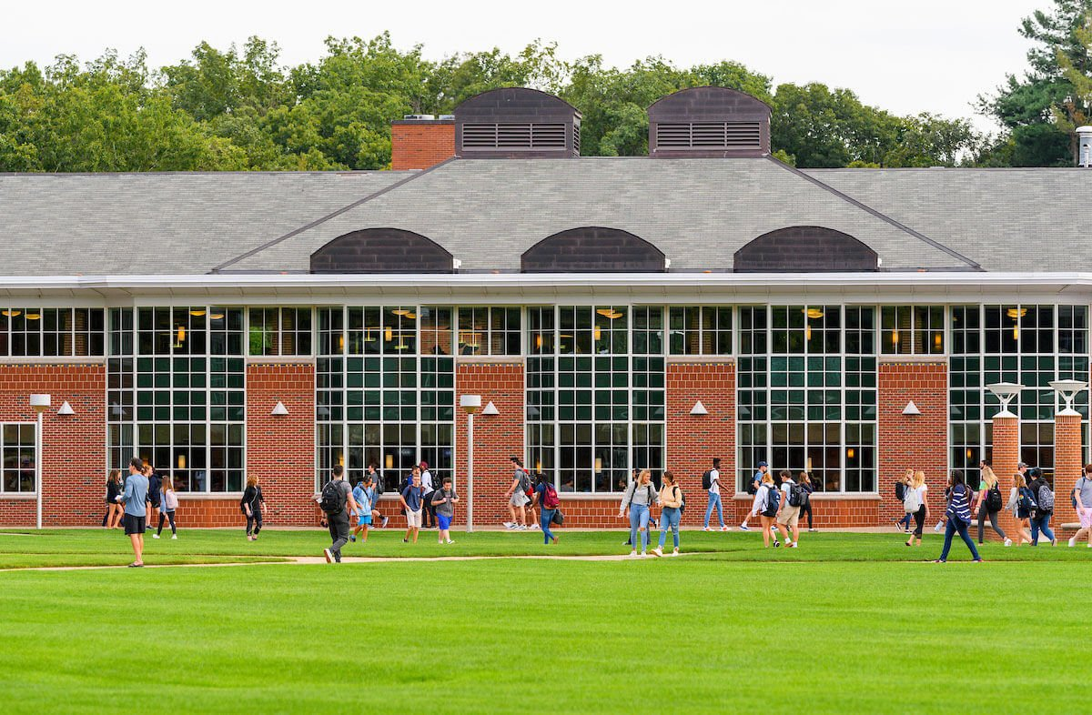 Dining hall of Quinnipiac University's Carl Hansen Student Center at the Mount Carmel Campus