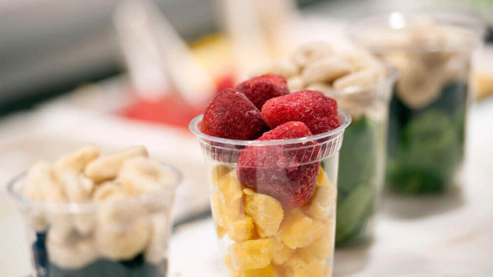 Fruit and other dining choices in the Carl Hansen Student Center on Quinnipiac University's Mount Carmel Campus in Hamden, Conn