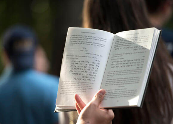 A photo of an opened Torah in a hand