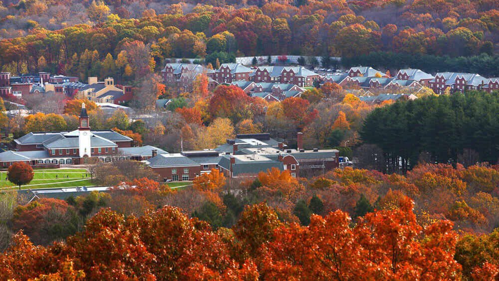 Aerial view of Mount Carmel Campus during autumn