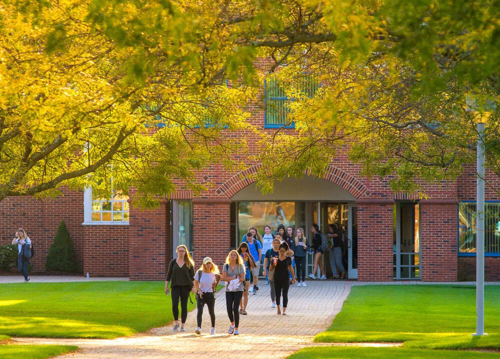 An admissions tour group leaves Echlin Center on a fall day