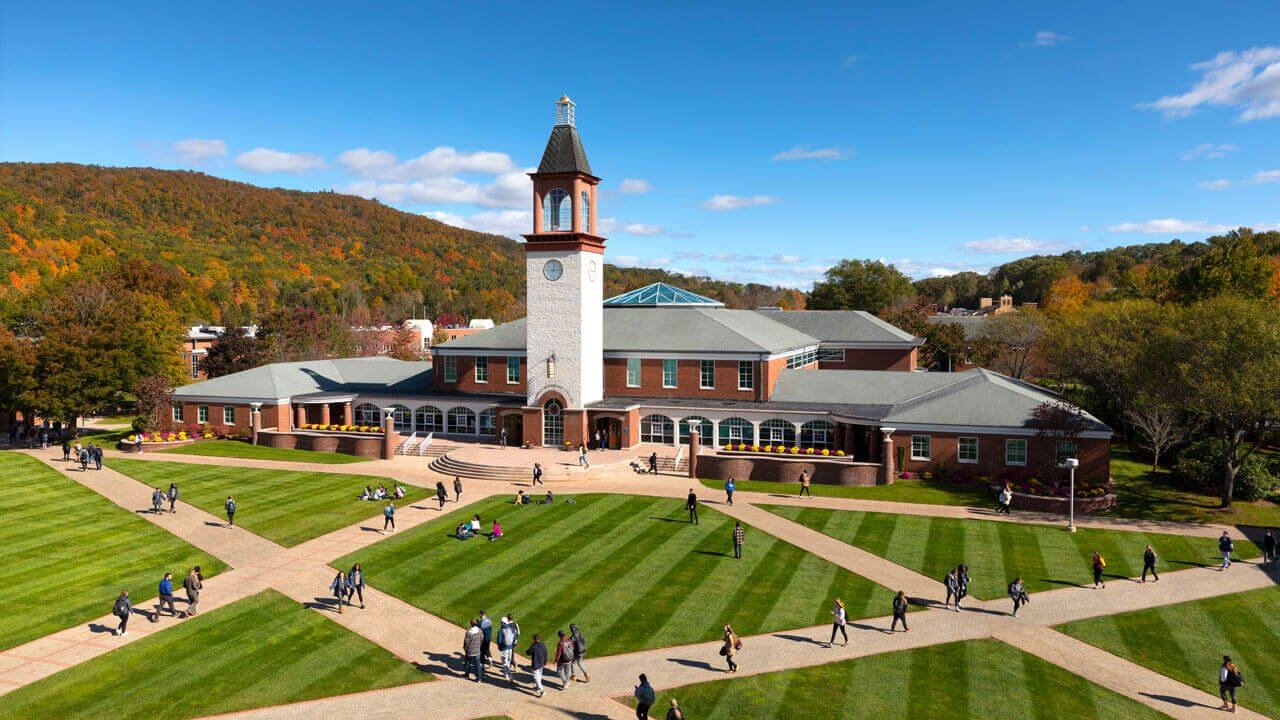 Aerial view of Quinnipiac's Mount Carmel Campus in the fall